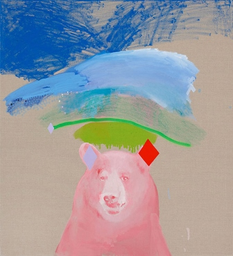 Miranda-Magic-Bear-in-Pink-2012-oil-acrylic-and-enamel-on-line